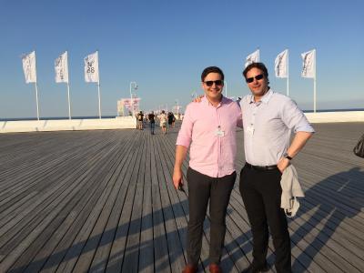 Dominik Sievert von inveox und Dr. Rene Fassbender von OmegaLambdaTec auf der Delegationsreise nach Polen