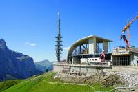 The new top station for the Dantercepies gondola lift, Wolkenstein in Gröden (Selva di Val Gardena), South Tyrol, Italy.