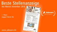 Jobware zeichnet STORCK für beste Stellenanzeige des Monats aus /  Bildrechte: Jobware GmbH Redaktionelle Veröffentlichung unter Angabe der Quelle (Jobware GmbH) honorarfrei.