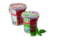Ressourcenschonende Verpackung für Snack-Tomaten: Der von Pöppelmann FAMAC® mit Unterstützung von MERULIN Gartenbauservice entwickelte Eimer in Gitterstruktur benötigt deutlich weniger Material