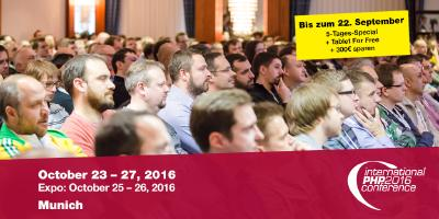 The International PHP Conference joins forces with the WebTech Conference in Munich and offers Power Workshops from PHP Development and JavaScript to Web Design and Security
