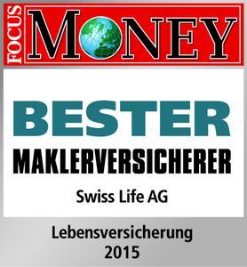"""Swiss Life ist """"Bester Maklerversicherer 2015"""": Das Wirtschaftsmagazin Focus Money und der AfW Bundesverband Finanzdienstleistung zeichneten den Versicherer aus."""