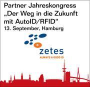 """Zetes ist Partner des Jahreskongresses """"Der Weg in die Zukunft mit AutoID/RFID"""" am 13. September in Hamburg."""