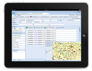 """Das iPad mit dem firmApp """"AuGe"""" Ausschreibungen Geocodiert. Dieses liefert Informationen rund um das Geschehen im Liefermarkt mit Daten in Echtzeit. Dieses firmApp gibt es übrigens auch von der PRAXIS Software AG."""