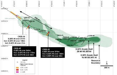 Abbildung 1 - Draufsicht auf Main Zone Nickelressource einschließlich neu abgegrenzter höhergradiger (>0,35 % Ni) Vererzung, Nickel-Kobaltsulfid-Projekt Crawford, Ontario
