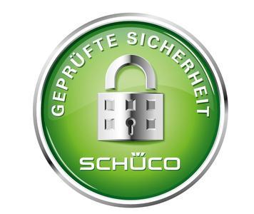 Das Schüco Sicherheitssiegel steht für 65jährige Erfahrung in der Entwicklung von sicherer zertifizierter Systemtechnik und die Erfüllung der gesetzlich geforderten Normen sowie Widerstandsklassen bis RC3 (Bildnachweis: Schüco International KG)