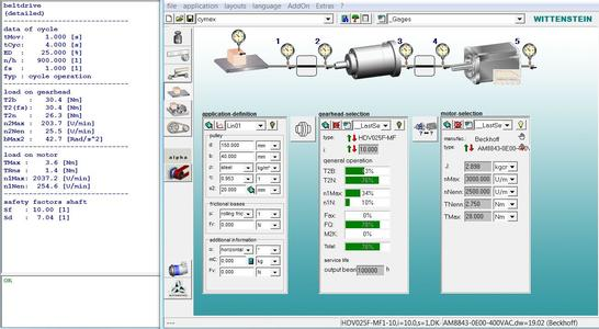 An HDV+ Hygienic Design gearhead is optimized using WITTENSTEIN alpha's cymex®3 sizing software
