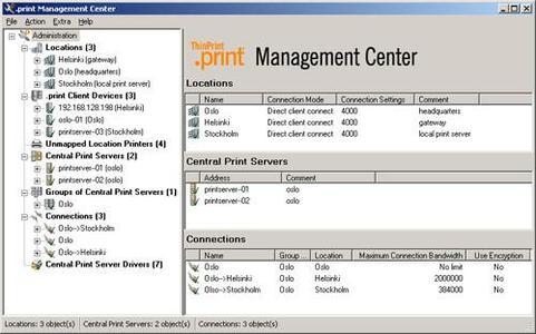 Mit einem Mausklick verschafft das .print Management Center dem Administrator einen Überblick über alle Drucker, die in der Zentrale und den Außenstellen installiert sind