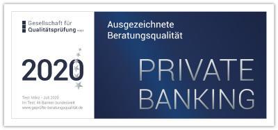 """Siegel """"Ausgezeichnete Beratungsqualität"""" im Private Banking"""