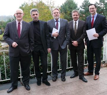 Dr. Andreas Siefke (Vorstandsmitglied FCP), Wilfried Lülsdorf (Stellvertretender Vorsitzender FCP), Manfred Hasenbeck (Vorsitzender FCP), Jürgen Wagishauser (Vorsitzender f:mp.), Dr. Nikolai A. Behr (Vorsitzender CTVA)