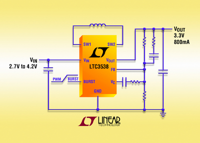 800mA, Synchronous Buck-Boost DC/DC Converter Offers Extended Battery Run Time for Li-Ion Powered Handhelds