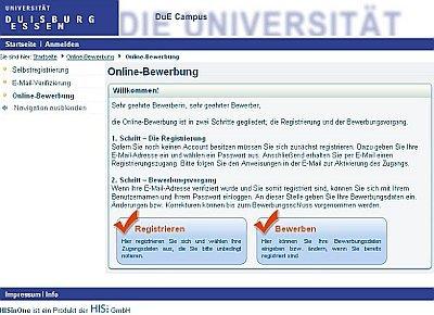 Online-Bewerbung mit HISinOne an der Universität Duisburg-Essen gestartet