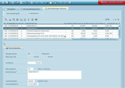 Rückgemeldet: Der Servicetechniker kann Wartungsinformationen wie Messwerte und Prüfergebnisse direkt aus dem Serviceauftrag ans ERP-System zurückmelden, bei Bedarf auch mobil über oxaion-Mobis.