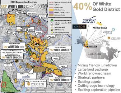 White Gold - hohe Mineralisierungen über lange Strecken / Quelle: White Gold Corp.