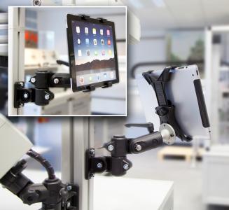 Die neue Halterung für Tablets erweitert das Zubehörspektrum der RK Monitorhalterung