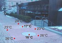 Beim Temperaturanstieg wird die Oberfläche der FibreIndustrial-Schachtabdeckung produktspezifisch nur geringfügig wärmer als die Umgebung auf Straßenniveau – auch, wenn die Unterseite extremer Hitze ausgesetzt ist. Foto: Fibrelite, UK