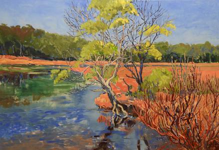 Die Farben Australiens faszinieren Herbert Siemandel-Feldmann seit seiner ersten Campingbusreise durch die Weite Australiens (Wallagarough River II, Öl auf Leinwand, 120 x 175 cm).