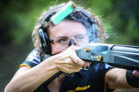 The 940™ JM Pro, designed in conjunction with World Champion Jerry and Lena Miculek, features a cleaner-running gas system and features built to shred the competition.