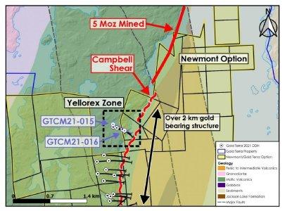 Abbildung 1: Lage der Bohrlöcher GTCM21 -15 und 16 in der Zone Yellorex