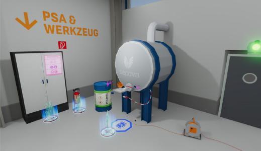 """Übersicht einer sam®-VR Schulung zum Thema """"Umfüllen von entflammbaren Flüssigkeiten"""""""
