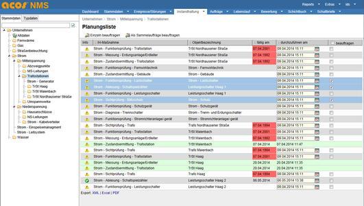Acos NMS 3.11: Planungsliste