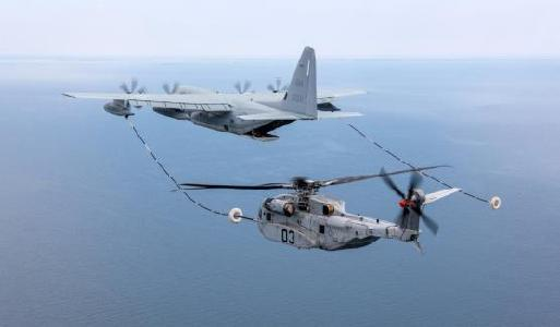 CH-35K during inflight refuelling with KC-130J tanker