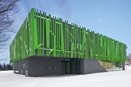 Nicht alltäglich: Bei diesem neu erbauten Kindergarten in Sighartstein in Östereich sorgen die »Grashalme« eines vorgehängten Fassadengeflechts vor dem carbonfaserverstärkten Wärmedämm-Verbundssystem in anthrazit für Pepp