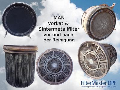 MAN Vorkat & Sintermetallfilter vor und nach der Reinigung mit FilterMaster