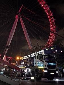 Eye to eye with a British landmark. PALFINGER large aerial platform in use at the London Eye