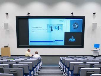 Projectionsscreen im Hörsaal des Fraunhofer IWU, (Foto: IMSYS)