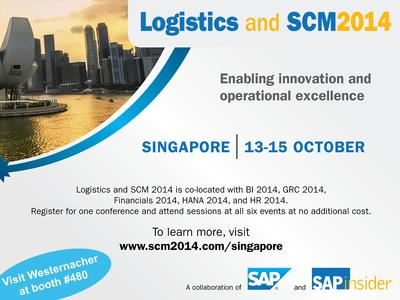 Westernacher Consulting to be a sponsor exhibiting at the SAPinsider Logistics & SCM 2014 conference in Singapore