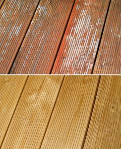 Deutlicher Unterschied: Die Holzdielen sehen nach der Behandlung mit den Spezialreinigern von Remmers wieder aus wie neu, Foto: Remmers Baustofftechnik, Löningen