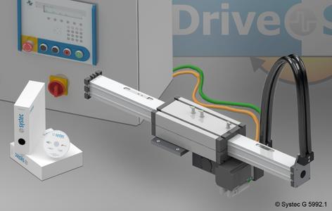 Die einachsige Lineareinheit DriveSet M157 wird von der Systec GmbH komplett montiert mit Xemo-Schaltschranksteuerung, einer für Druckanwendungen optimierten Bediensoftware und ausführlichen Dokumentationen geliefert