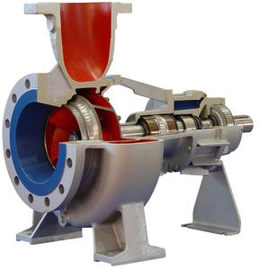 """With a maximum capacity of 1450 m3/h, the """"Allheat 1000"""" is the flagship of Colfax Fluid Handling's new 400 °C heat-transfer pumps. The bearings in the pump are specifically designed to handle the low lubricity and low viscosity often encountered with synthetic heat-transfer oils."""