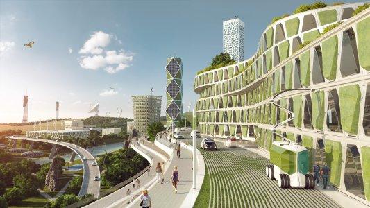 Die Stadt der Zukunft – Mikroorganismen produzieren Nahrungsmittel und Biokunststoffe an den Fassaden / Bild: xiox /w2v-rlp