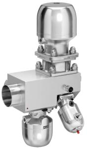 Multi-port valve block made from stainless steel with the control valve GEMÜ 567 BioStar control and diaphragm valves GEMÜ 650 BioStar for dosing from a sterile loop and distribution across several outlets