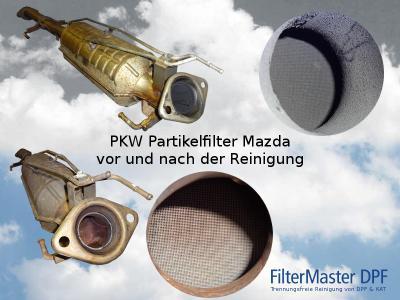 PKW Partikelfilter Mazda vor und nach der Reinigung mit FilterMaster   Außenansicht und Blick auf die Filterkeramik