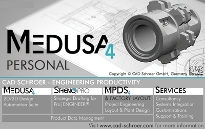 MEDUSA4 Personal is CAD Schroer's powerful free 2D/3D CAD system for non-commercial use