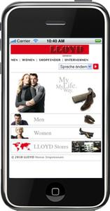 Homepage Lloyd Shoes per Handy