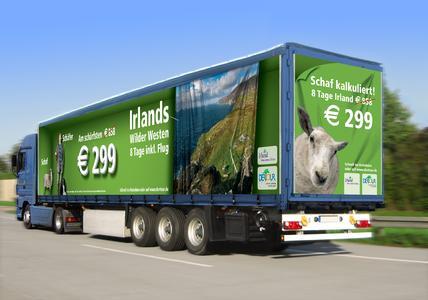 Ab auf die grüne Insel: Dertour wirbt mit RollAd für Reisespecial in Irlands Wilden Westen, Copyright: Wall AG