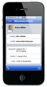 """So einfach mit """"einfachLohn mobile"""" - Mitarbeiterdetails auf einen Blick auf dem iPhone"""