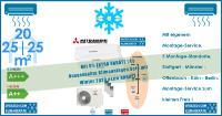 Mitsubishi Heavy Klimaanlage Wandgeräte SRK 20 ZS-W + 2 x SRK 25 ZS-W + Außengerät SCM 60 ZS-W Set für 3 Zimmer mit je 20 | 25 | 25 m²