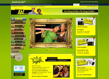 """Wissen macht Ah!""-Website Screenshot 1"