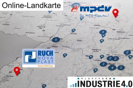 MES HYDRA auf der Online-Landkarte Industrie 4.0 beim Anbieter MPDV in Mosbach und beim An-wender RUCH NOVAPLAST in Oberkirch (Bild: Plattform Industrie 4.0 / MPDV)