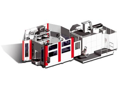 Flexible RS 4 manufacturing system is adapted to a 5-axis C 50 U dynamic machining centre (also possible for 2 machines)