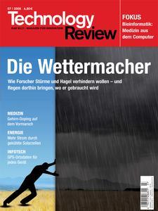 Das Titelbild der aktuellen Technology-Review-Ausgabe 7/2008 steht zum Download  bereit