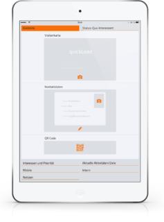 quickLead macht die Erfassung von Kontaktdaten leicht dank praktischer automatischer OCR-Texterkennung, QR-Code-Scanner und komfortabler Korrekturfunktion.