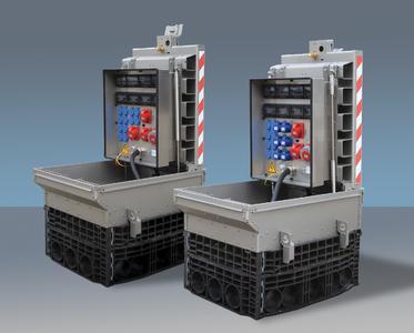 Pate für das ACE Messemodell mit Tandemgasfedern: Ein großer Unterflurverteiler mit schwerer Zugangsklappe, so wie sie im Kommunalbau für Druckluft-, Strom-, Wasser- und Datenanschlüsse verwendet werden / Bildnachweise: ACE Stoßdämpfer GmbH