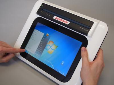Tablet-PC with integrated DIN A4 printer