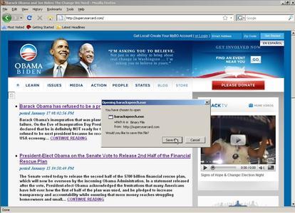 Gefälschte Webseiten über Obama's Rücktritt